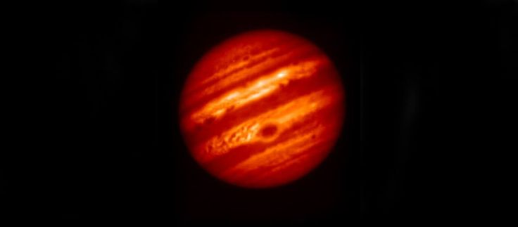 This false-color image of Jupiter was taken on May 18, 2017, with a mid-infrared filter centered at a wavelength of 8.8 microns, at the Subaru Telescope in Hawaii, in collaboration with observations of Jupiter by NASA's Juno mission. Credit: NAOJ/NASA/JPL-Caltech.