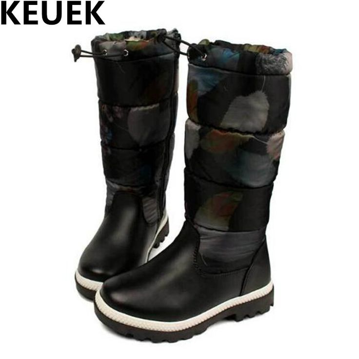 NEW Winter Thickening Warm Leather Boots Children Mid-Calf Snow Boots Boys Girls Martin Boots Kids Shoes High Quality 044 #Affiliate