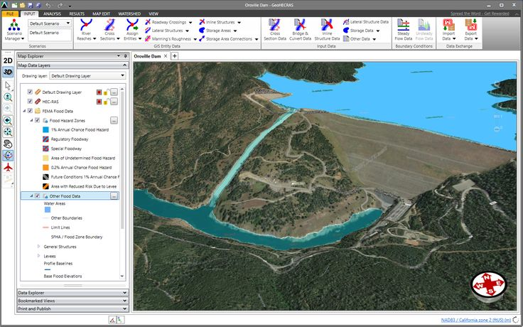 HEC-RAS 3D visualization of the Oroville Dam. Oroville Dam is an earthfill embankment dam on the Feather River east of the city of Oroville, California, in the United States. At 770 feet (235 m) high, it is the tallest dam in the U.S.[8] and serves mainly for water supply, hydroelectricity generation and flood control. https://en.wikipedia.org/wiki/Oroville_Dam