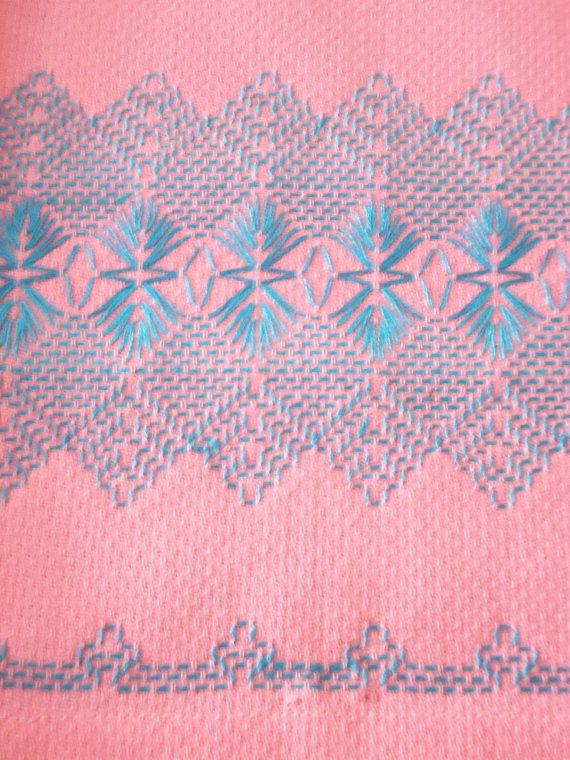 2 Vintage Swedish Huck Weaving Hand Towels Bargello by kgroah, 10.00