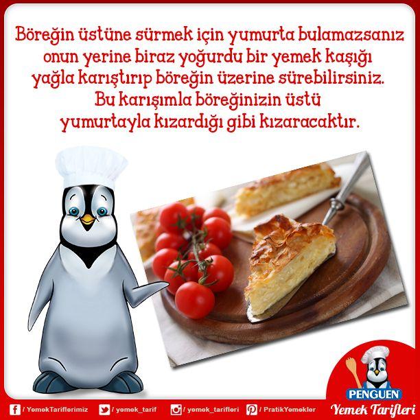 Böreğin üstüne sürmek için yumurta bulamazsanız onun yerine biraz yoğurdu bir yemek kaşığı yağla karıştırıp böreğin üzerine sürebilirsiniz. Bu karışımla böreğinizin üstü yumurtayla kızardığı gibi kızaracaktır.