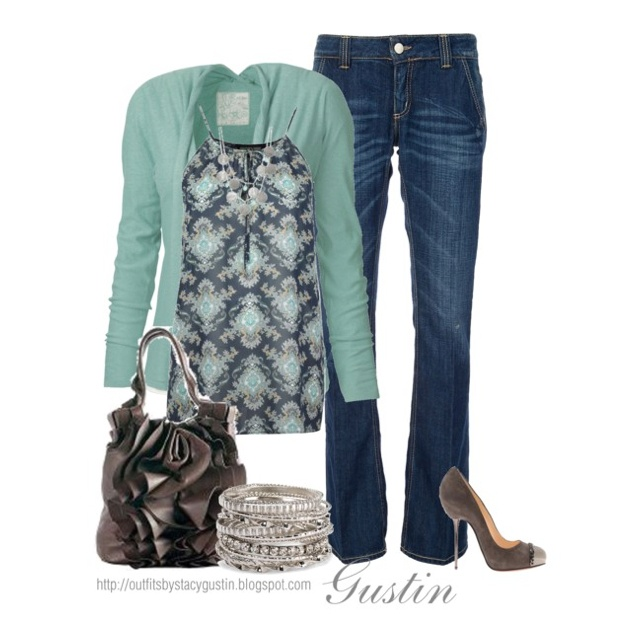 Mint green and brown. I'd wear flats though. From polyvore
