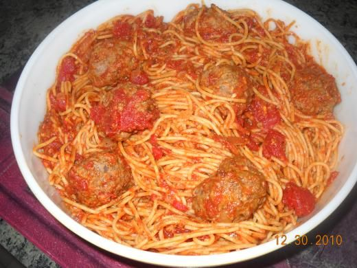 spaghetti sauce and meatballs, from Cooking With Nonna.  Sauce looks pretty authentic Italian.