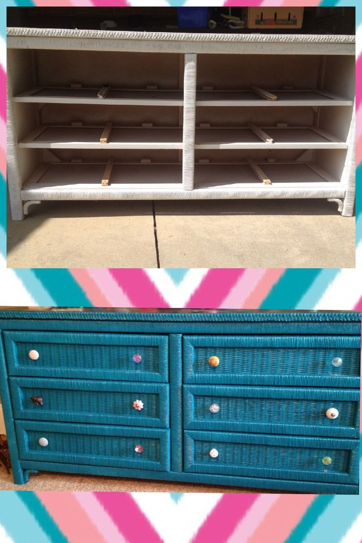 DIY dresser makeover! I bought a used white whicker dresser for only $50. All i has to buy was about 5 cans of teal spray paint and two cans of chalkboard spray paint for the top and it looked brand new. To finish my unique dresser i found all different nobs at World Market and Michael's Crafts and wa-la!