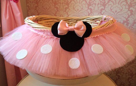 Medium Minnie Mouse Themed Tutu Basket, Birthday Tutu Gift Basket, Baby Shower Basket,  Tutu Easter Basket, Newborn Photo Prop Basket on Etsy, $38.00