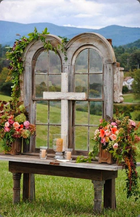 """Would be beautiful for out doors wedding or Baptism this altar area came from - """"Blooms by Pat's Floral Designs"""""""