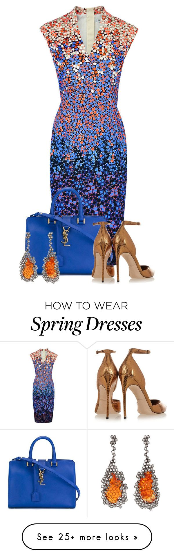 """Romantic Spring"" by tjinwa on Polyvore featuring L.K.Bennett, Yves Saint Laurent, Arunashi, Brian Atwood, women's clothing, women, female, woman, misses and juniors"