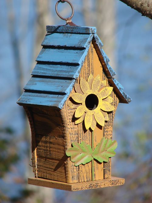 Birdhouse With Blue Roof And Pretty Sunflower Entrance