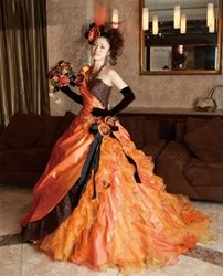 Halloween Wedding Dress In Orange And Black