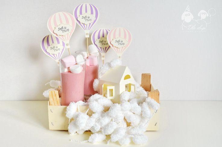 Hot Air Balloon candy bar toppers / Топперы в форме воздушного шара для сладкого стола на свадьбу или детский день рождения