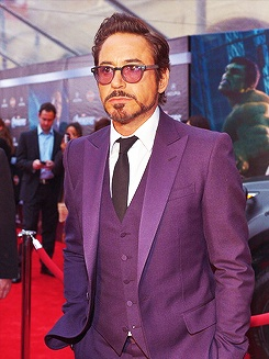 Robert Downey Jr. in a custom tailored, made to measure suit. And yes, it's purple. Does he rock it? #rebel