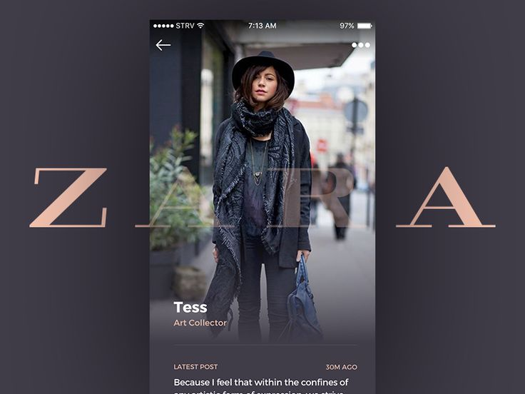 iOS Take 04 Featuring ZARA - Profile page concept for branded fashion stories by Marian Fusek