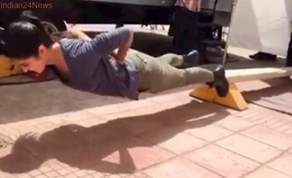 Katrina Kaif does perfect push-ups but there is something fishy about it. Watch video