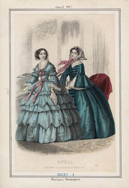 April 1857, 2 Tea/Visiting Dresses, Graham's Magazine fashion plate.