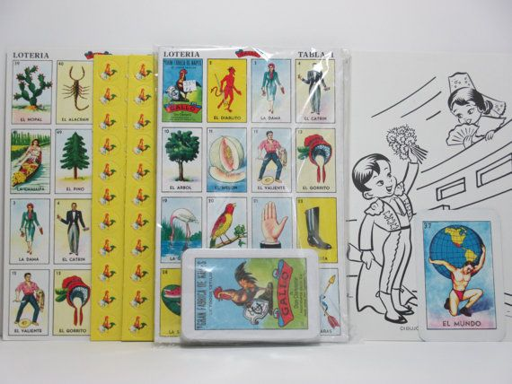 Vintage Sealed Box of Mexican Lottery Cards: Juego De Loteria - Includes Extra Bingo Cards and Bingo Markers