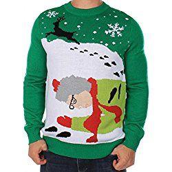 Men's Ugly Christmas Sweater - Grandma Got Run Over By A Reindeer Sweater Green Size XL