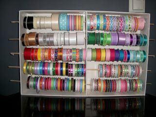 craft storage | Create this ribbon rack for only $10! It holds over 100 spools of ...