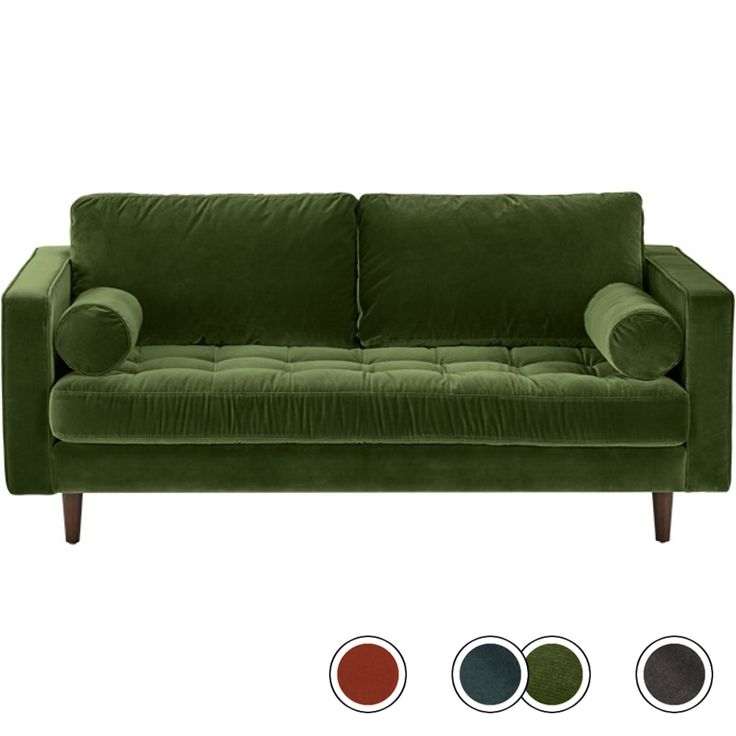 Scott Large 2 Seater Sofa, Grass Cotton Velvet from Made.com. Green. The Scott sofa blends a sleek silhouette with a buttoned seat cushion for a sta..
