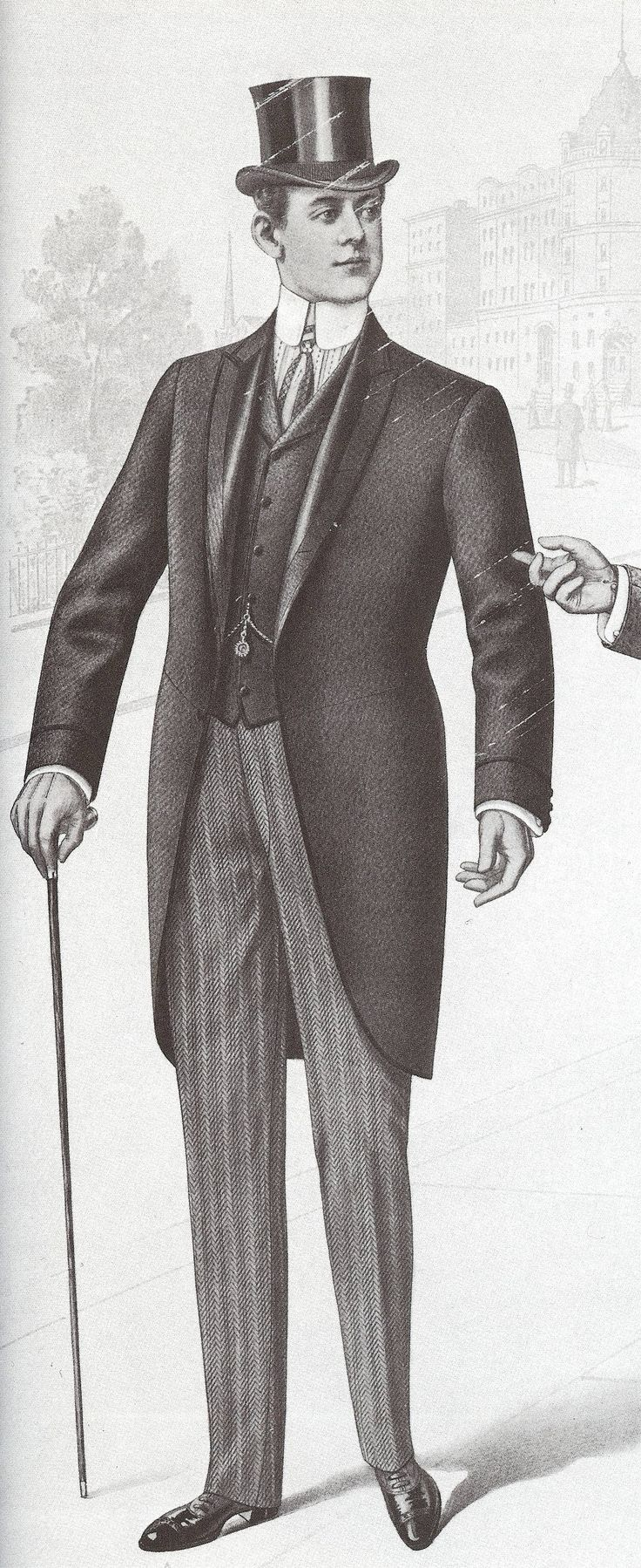 1907-1908 Men started to wear more fitting suits and their morning jacket was a cutaway style. (Sydney S.)