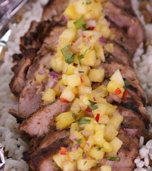 CHEF ROBLE Jerk Pork with Pineapple Salsa and Coconut Rice
