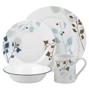 Corelle Impressions LEAVES 16pc DINNERWARE Set *Wide Rim ~ BLUE SILHOUETTE *New #Corelle