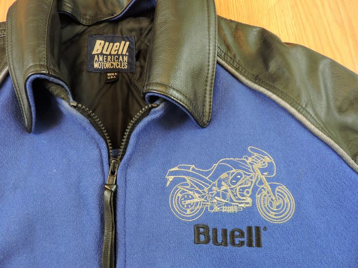 Buell American Motorcycles Men's Leather and Wool Jacket #buellmotorcycles #motorcycles #buell