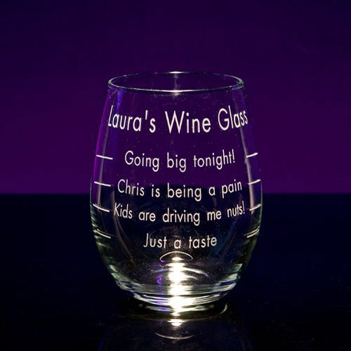 Funny Personalized Wine Glasses - Engraved Fun and Cute Novelty Wine Glass