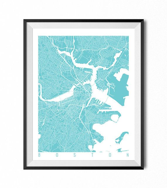 BOSTON Map Art Print / Massachusetts Poster / Boston Wall Art Decor / Choose Size and Color