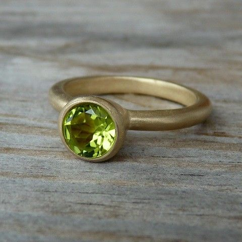 14k Gold  And Peridot Gemstone Solitaire in Rose Gold. $548.00, via Etsy.