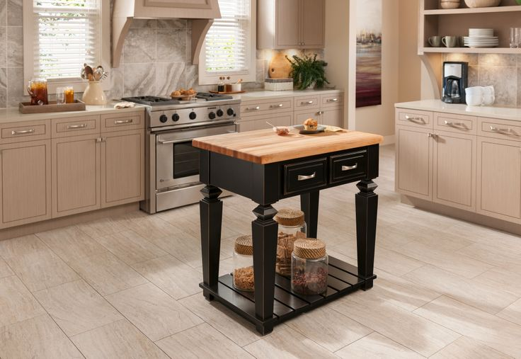The Bungalow island (ISL09 and ISL10) is available in 2 sizes and features two working drawers on one side and an open bottom shelf. The legs can be assembled without the shelf. The deep drawers are dovetailed solid hardwood and are mounted on full extension undermount soft‑close slides. Available in Aged Black (shown) or French White finish. Available with and without food-grade butcher block tops.