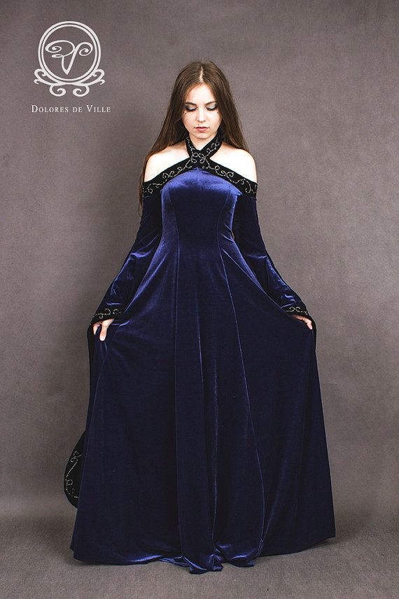 Medieval fantasy dress made from elastic polyester velvet. Embroidery I make by my hand. The dress is to order in different colors. Sleeves are