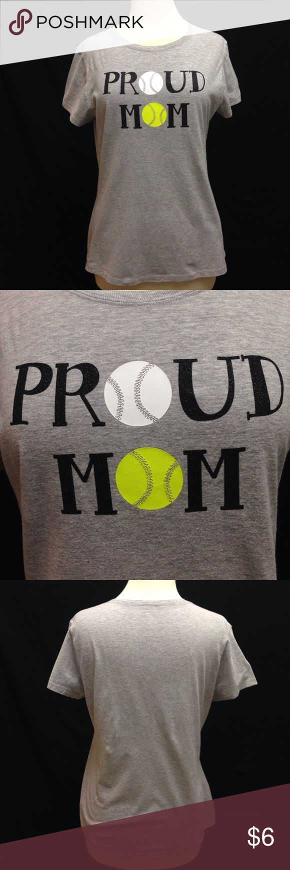 """Proud Baseball & Softball Mom Tee Bust 38"""" Waist 36"""" Length 24"""". Material stretches. For a Fitted tee it does fit a little big but not like a large. It is in excellent used condition, with no rips stains and tears. Hanes Tops Tees - Short Sleeve"""