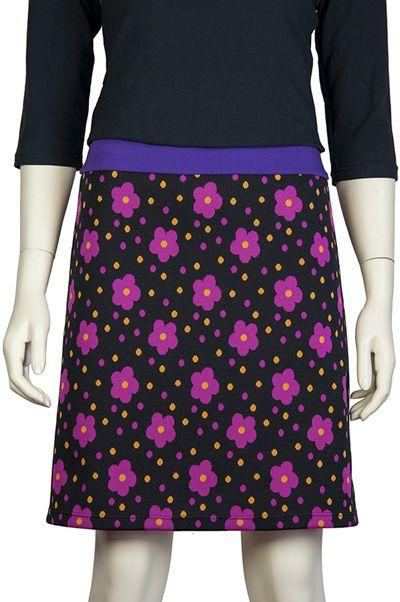 Zwart A rokje met paarse bloemen en gele stippen, Pop Rok