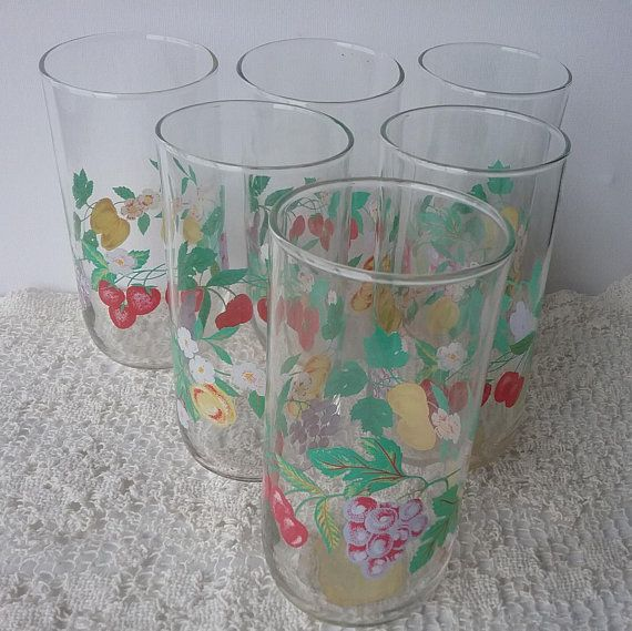Libbey Drinking Glasses Fruit Motif Water Tumblers Vintage Kitchen Drinkware Set Of 6 Libbey Brand Drinkware 5 25 Drinking Glasses Vintage Kitchen Libbey