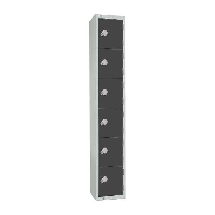 Elite Six Door Padlock Locker Graphite Grey - GR682-P