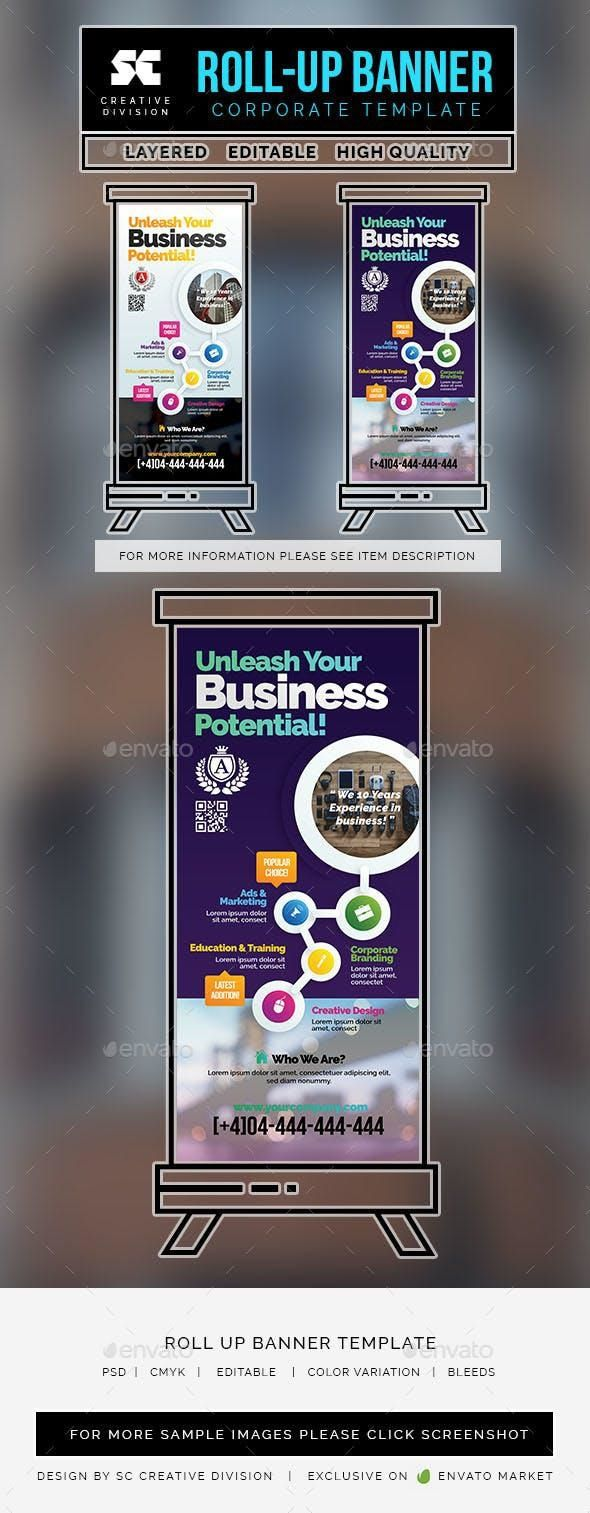 Corporate Roll Up Banner #SignageTemplates #graphics #SignageDesign #GraphicDesi...