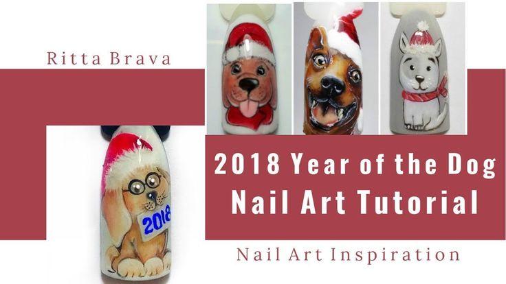 Dog Nail Art Tutorial - 2018 Year of the Yellow Earth Dog chinese new year nail art 2017, chinese new year nail art, chinese new year 2018, tutorial, nail art tutorial, chinese new year, cny nail art, chinese new year nails, nail art 2018, christmas, Dog nails, dog nail art, puppy nails, puppy nail art, chinese new year 2018 nail art, Christmas nail art, Christmas nails, Christmas nail designs, new year nail art, Christmas tree nail art, nail art natale, nail art natalizie, winter nails…