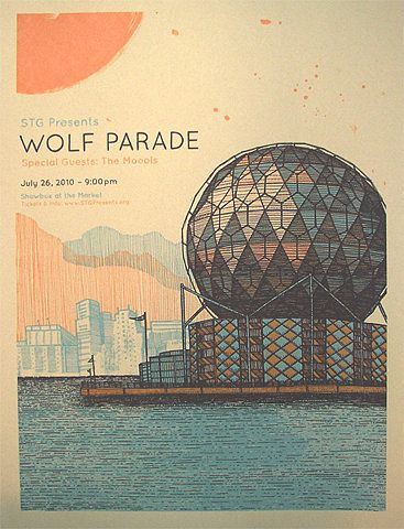 [Color] Blue and Orange Wolf Parade Poster with Worlds' Fair science, Epcot, Buckminster Fuller feel