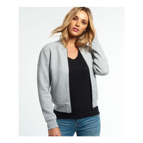 Superdry Micro Quilt Bomber Jacket ($65) ❤ liked on Polyvore featuring outerwear, jackets, grey, bomber jacket, collared bomber jacket, jersey jacket, zipper jacket and collar jacket