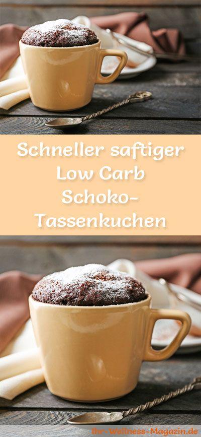 Rezept für einen schnellen, saftigen Low Carb Schoko-Tassenkuchen- kohlenhydratarm, kalorienreduziert, ohne Zucker und Getreidemehl