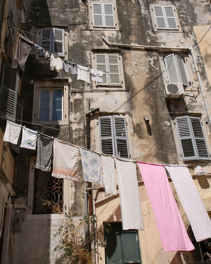 Laundry Room Wall Art - Corfu Greece Photography Clothesline Print Rustic Mediterranean Decor Travel Photography Laundry Wall Art Grey