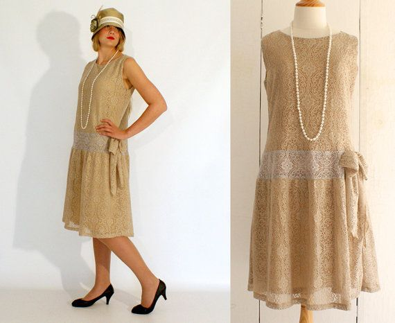 Flapper dress Great Gatsby dress old gold by HouseOfRecollections, $125.00