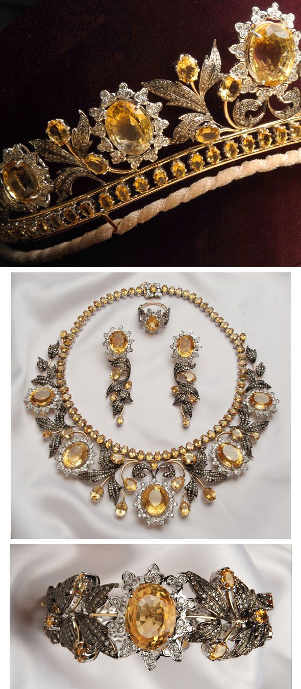 The Queen of Sheba Parure. It consists of large honey-colored diamonds, white brilliant-cut diamonds, smaller honey-colored diamonds, rose-cut and old-cut diamonds set in 18k yellow and white gold (some of which has been oxidized). It was designed specially for Lady Colin Campbell, who has worn it in its entirety to royal events. The parure is comprised of a tiara, necklace, long-drop earrings, ring and bracelet.