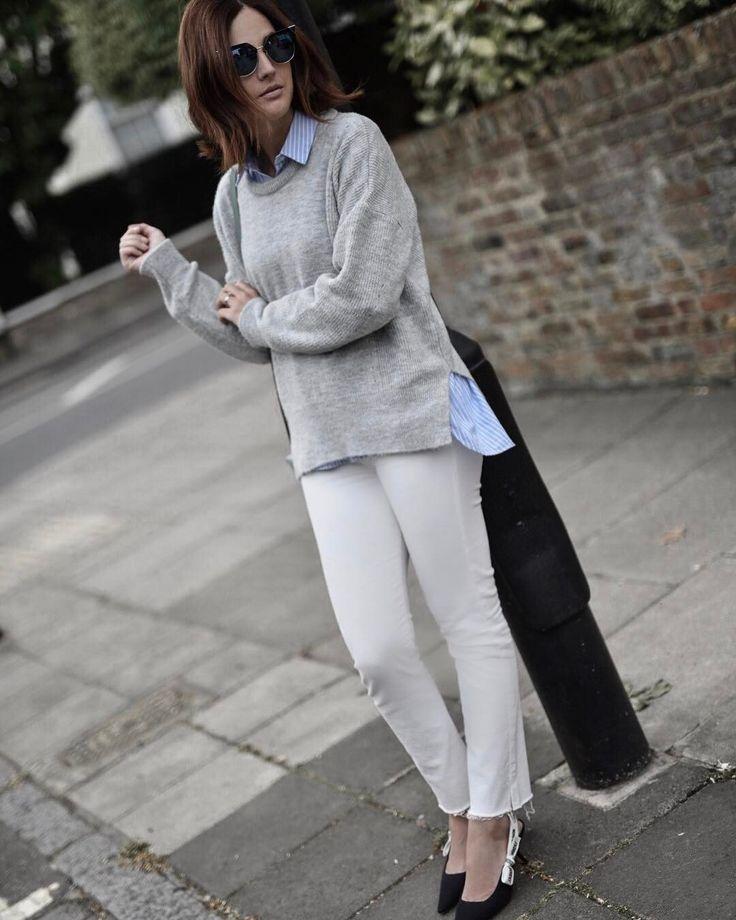 Currently obsessed with white jeans! Estou total na fase calça jeans branca, fazia séculos que não tinha uma e agora é só o que quero usar!  Pull Topshop, calça Mother, óculos Fendi e sapatos Dior. Vic Ceridono | Dia de Beauté