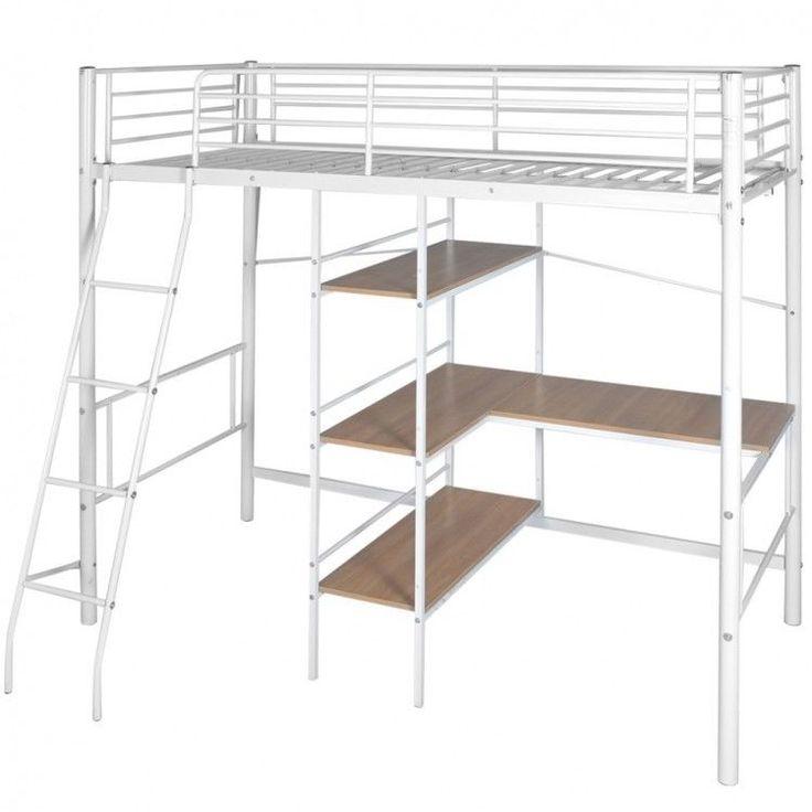 Childrens Bunk Bed Frame Desk Storage Metal Brown White Ladder Shelves Furniture #ChildrensBunkBedFrame