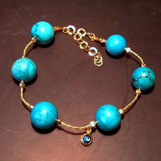 HANDMADE BRACELET TURQUOISE EYE GOLD with Turquoise Stones 12mm, Goldplated Silver Chain and Goldplated Silver Eye | Crystal Pepper