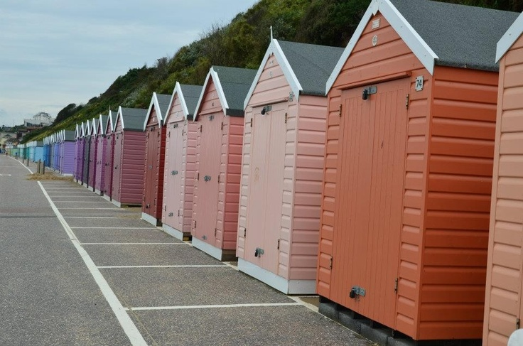 Cascading shades of beach huts - Bournemouth Pier, UK