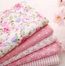 Новый саржевые бледно-розовый хлопчатобумажная ткань жира квартал лоскутное стегальную расслоение тильда DIY швейных ткани младенца игрушка домашний текстиль 5 шт./лот 40 * 50 см(China (Mainland))