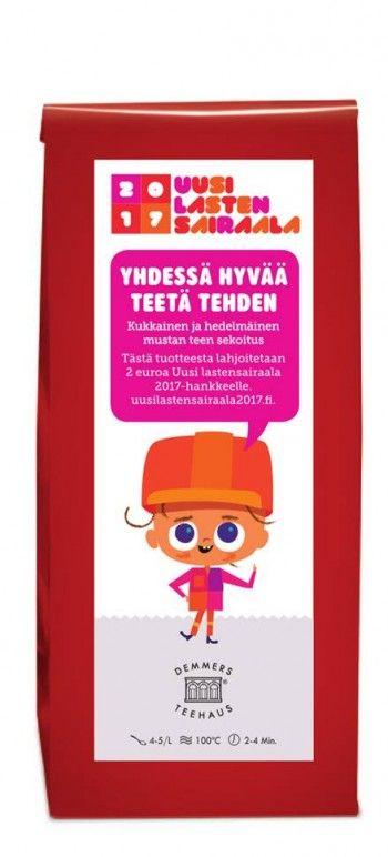 Lastensairaala musta tee. Hinta 7€