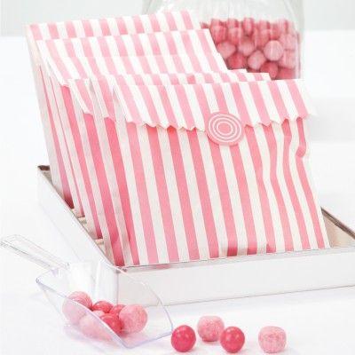 Sachets confiserie rayures roses - Lot de 12